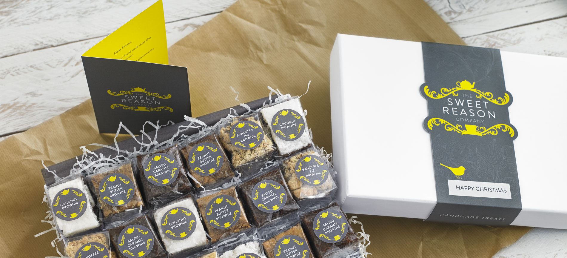 The Sweet Reason Company brownie box, gift card and box band - desktop