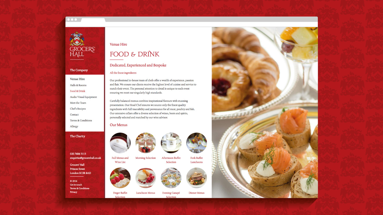 Grocers' Hall website - desktop