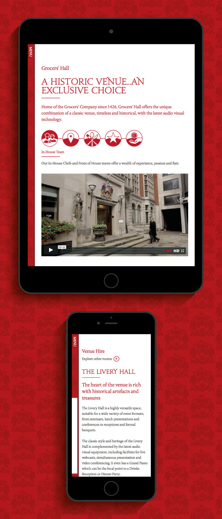Grocers' Hall website on an iPad and iPhone - mobile