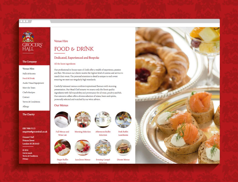 Grocers' Hall website - mobile