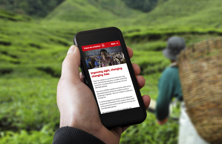 The Vision for a Nation website on an iPhone - mobile