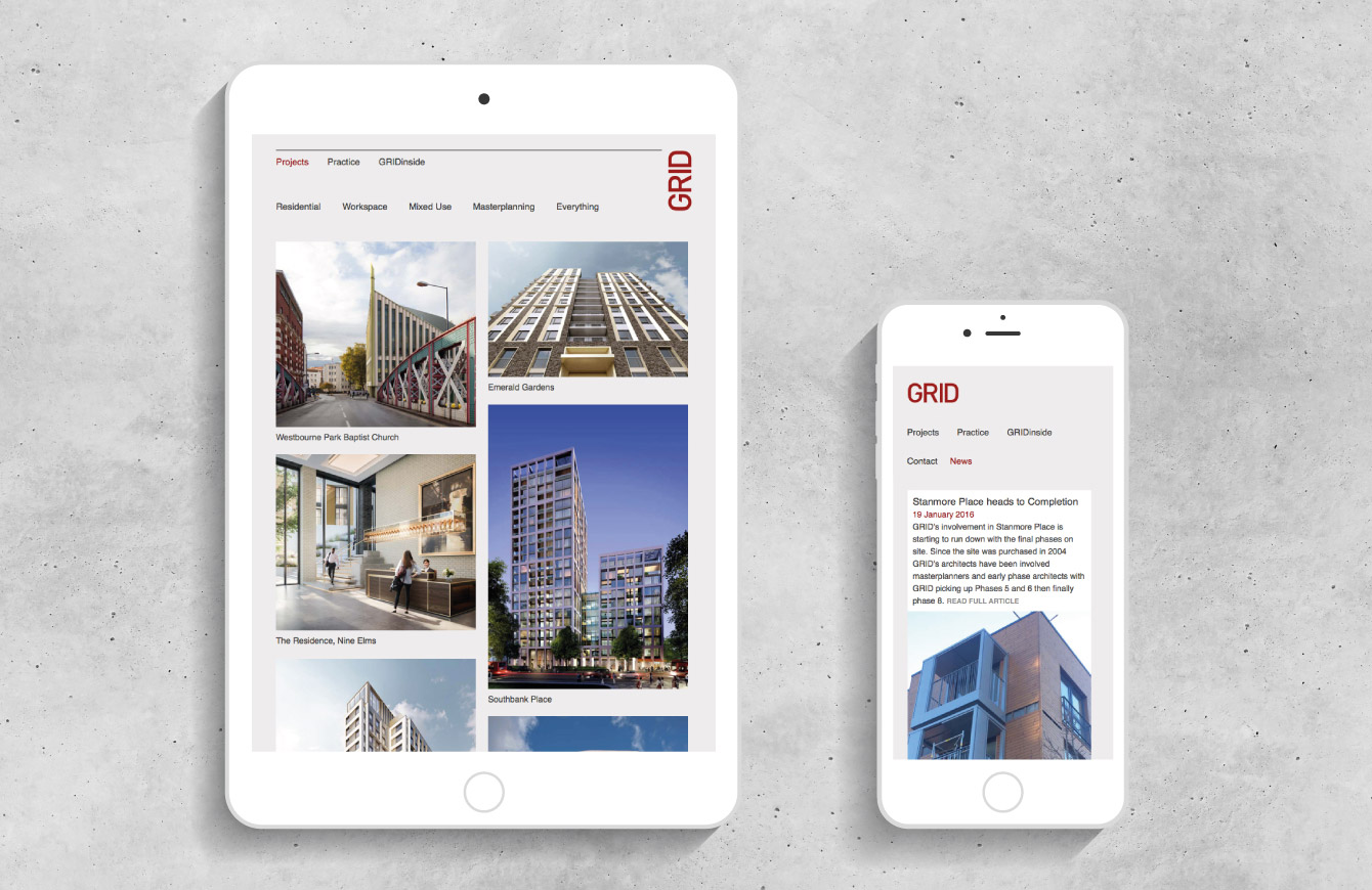 The GRID Architects website on an iPad and iPhone - desktop