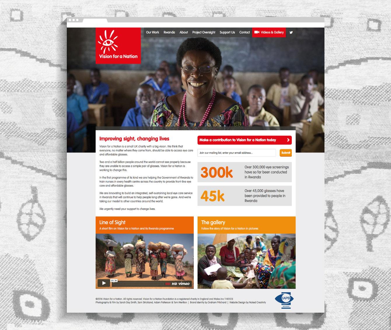 The Vision for a Nation website homepage - desktop