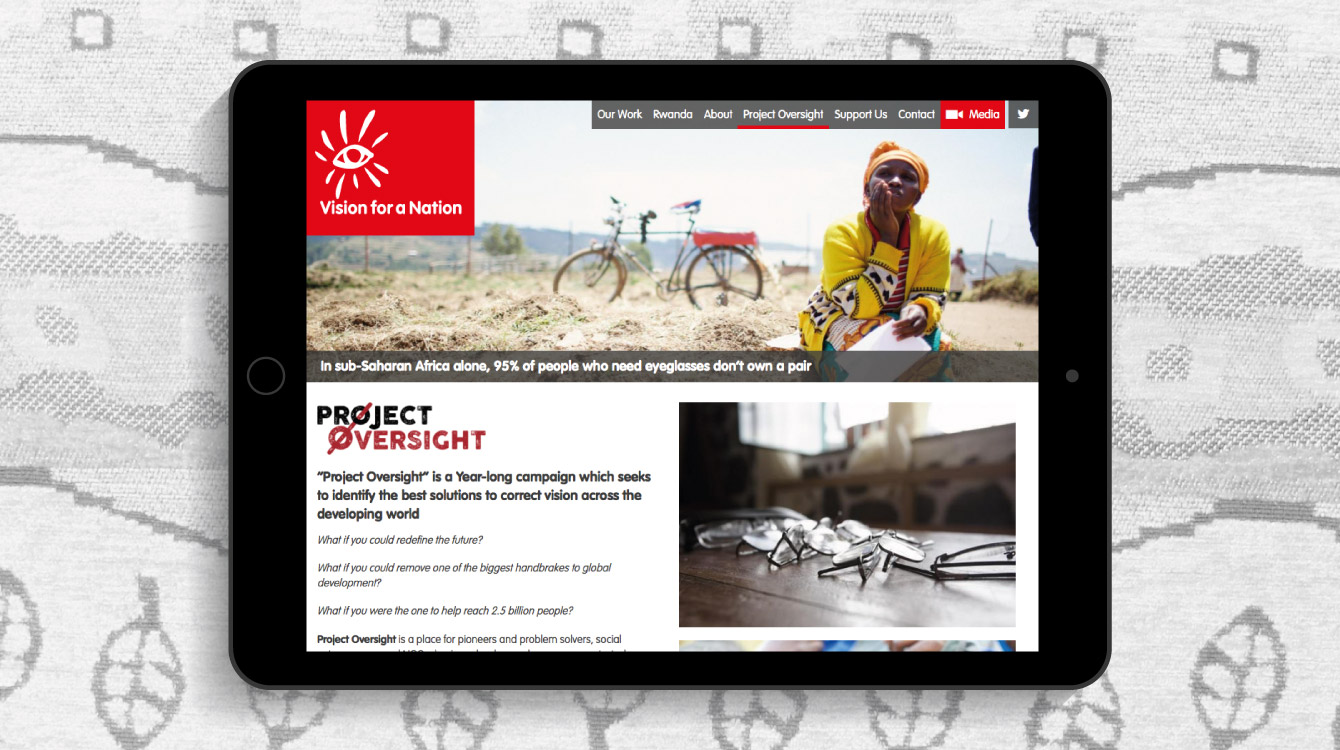 The Vision for a Nation website displayed on an iPad - desktop