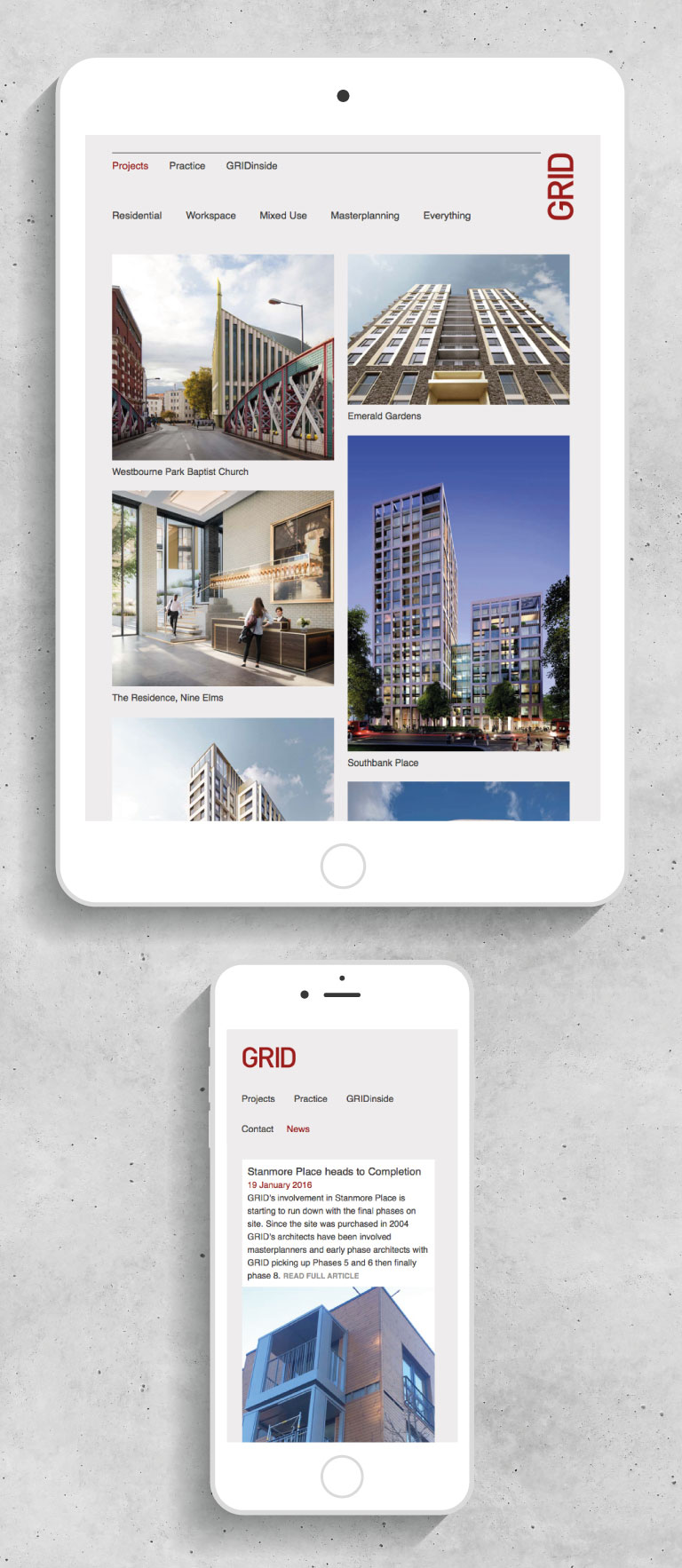 The GRID Architects website on an iPad and iPhone - mobile