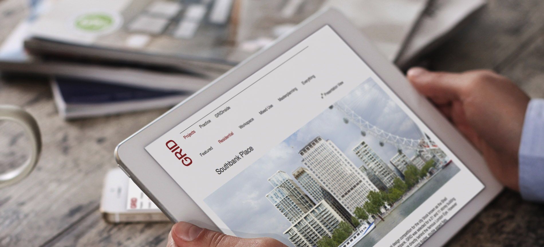 The GRID Architects website on an iPad - desktop