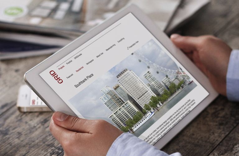 GRID architects website development - mobile