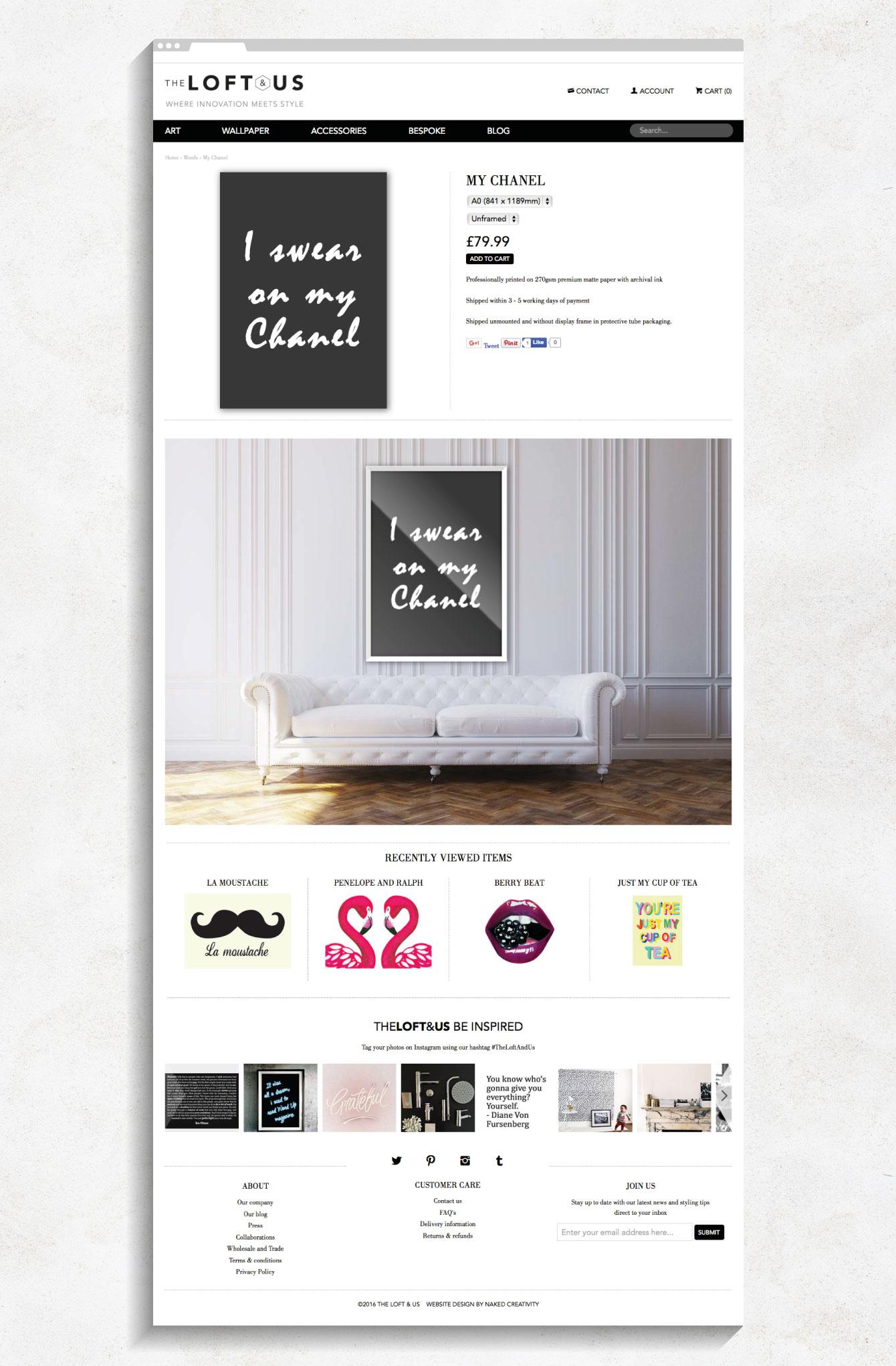 A product page on the Loft & Us website - desktop