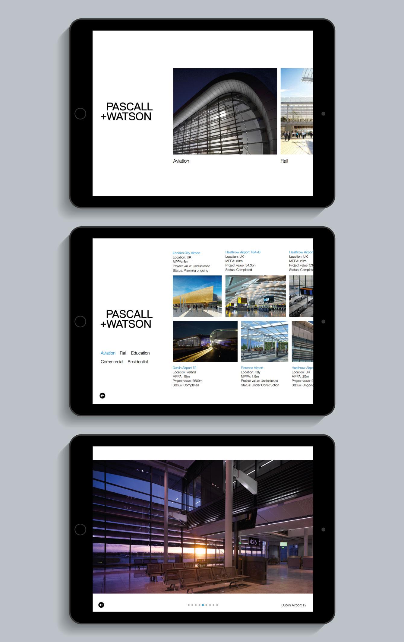 The Pascall+Watson iPad app displayed on an iPad - desktop