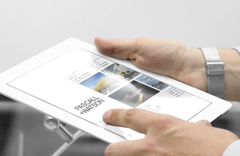 The Pascall+Watson iPad app displayed on an iPad - mobile