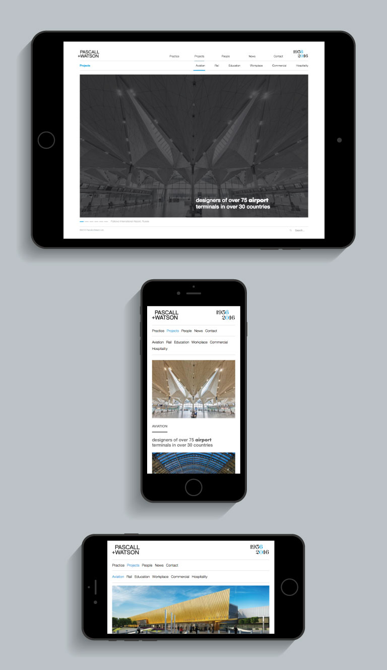 The Pascall+Watson website on an iPhone and iPad - mobile