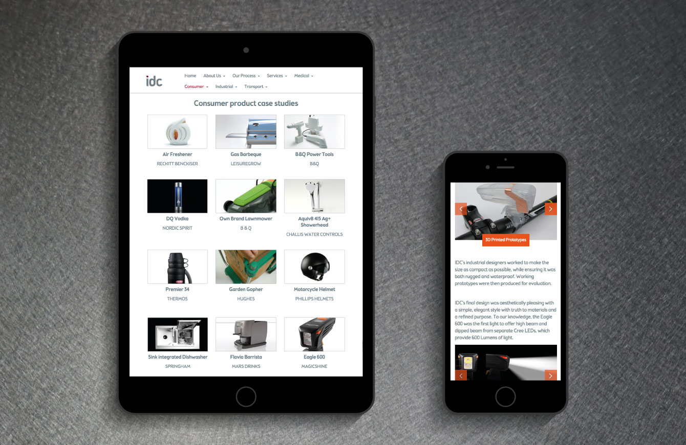 The IDC website on a tablet and smart phone - desktop