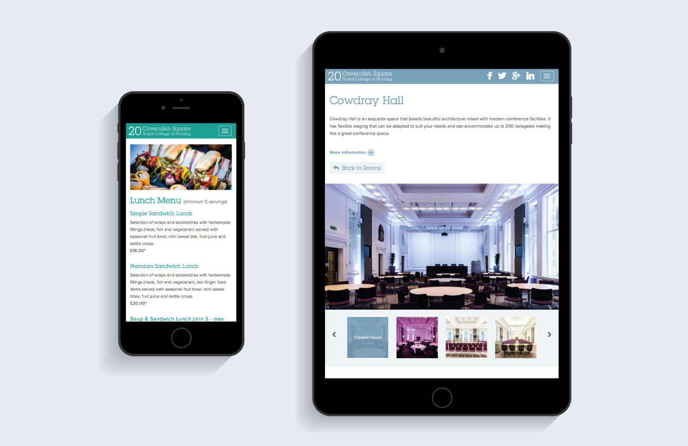 The 20 Cavendish Square website on an iPad and iPhone - desktop