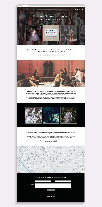 The Fashion landing page on the 20 Cavendish Square website - desktop