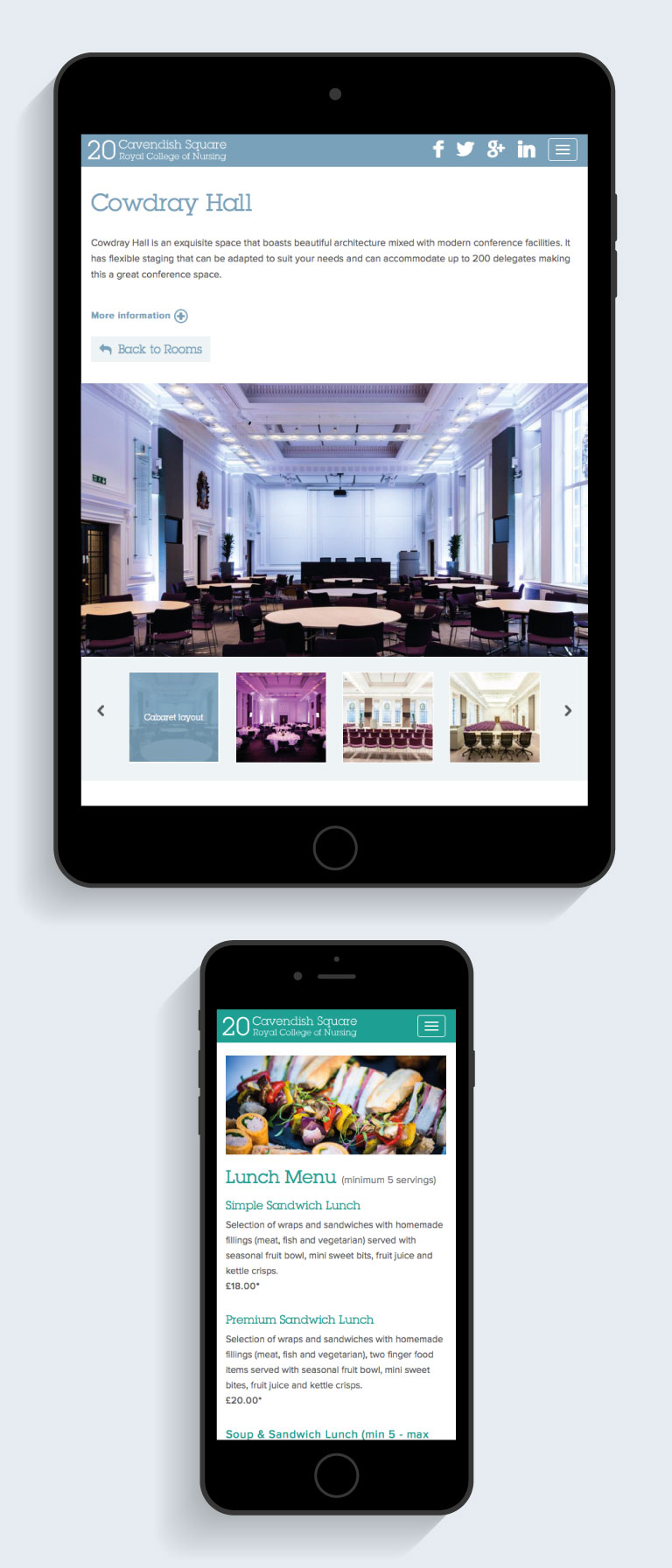 The 20 Cavendish Square website on an iPad and iPhone - mobile