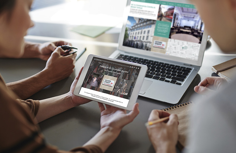 The Fashion Campaign landing page on the 20 Cavendish Square website - mobile