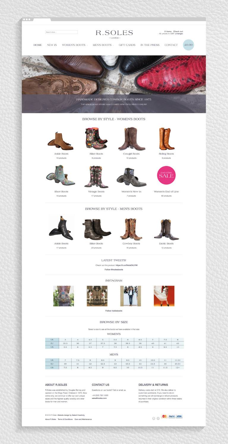 The homepage of the R.Soles Shopify website - mobile