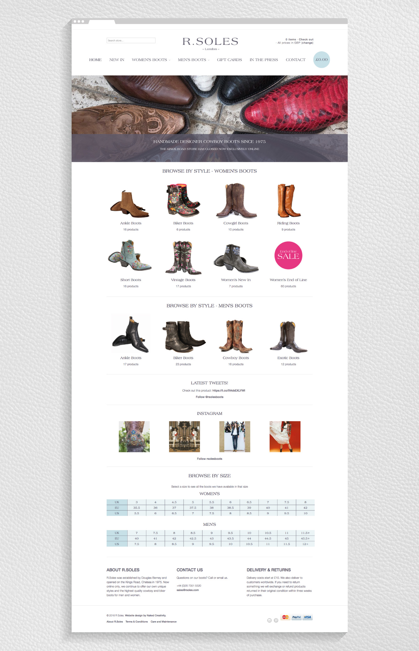 The homepage of the R.Soles Shopify website - desktop