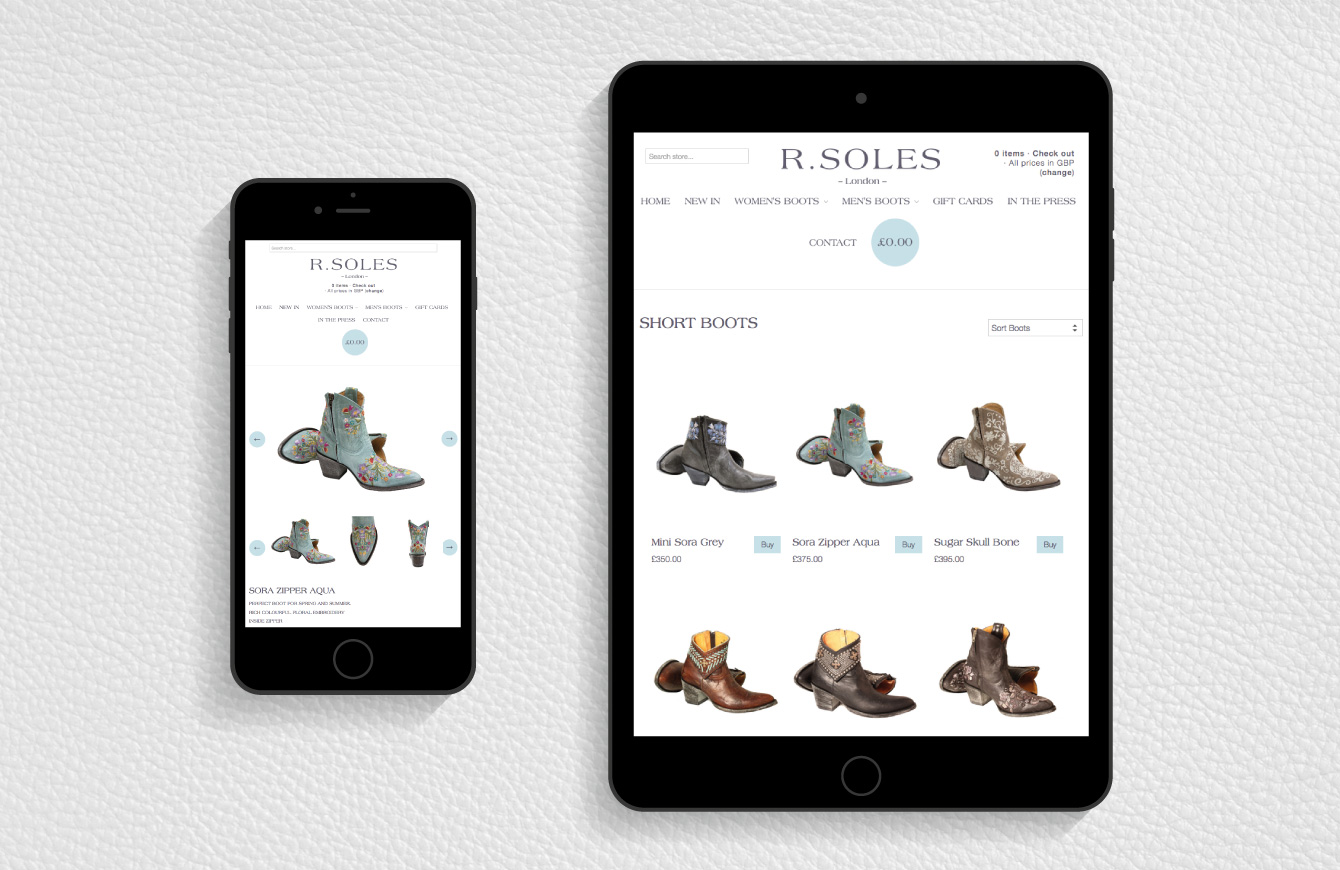 The R.Soles website on an iPad and iPhone - desktop