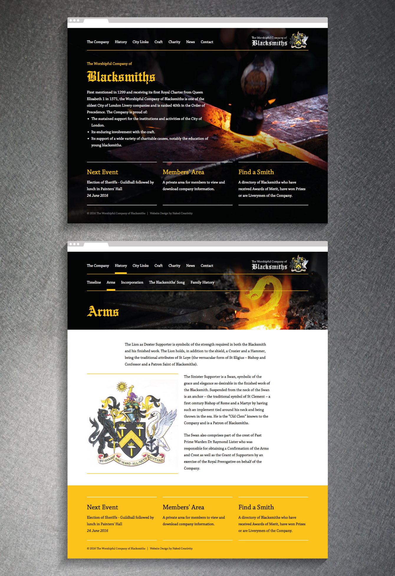 The Worshipful Company of Blacksmiths website homepage - desktop
