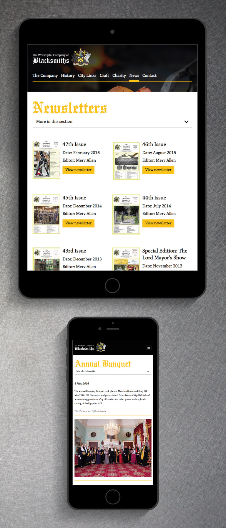 The Worshipful Company of Blacksmiths website on an iPad and iPhone - mobile