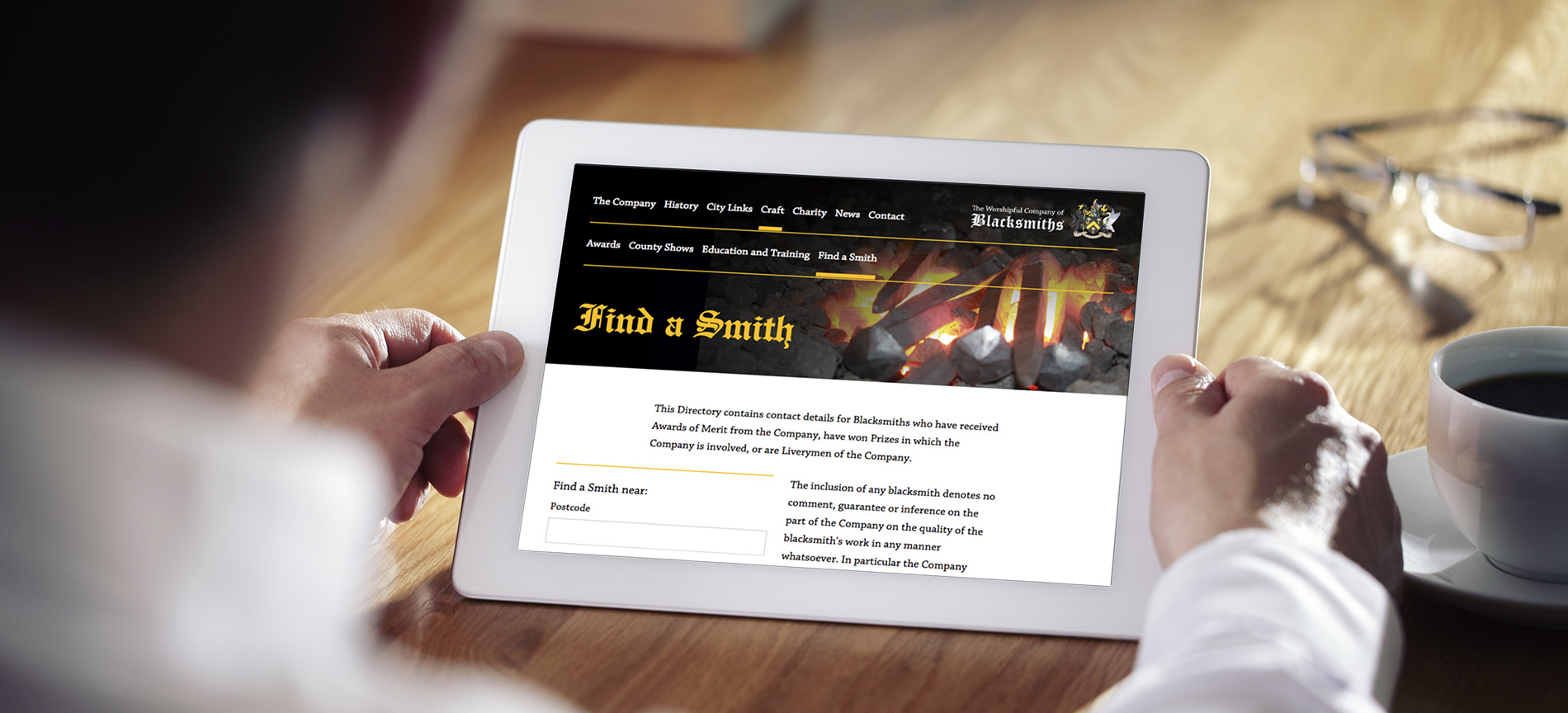 The Worshipful Company of Blacksmiths website - desktop