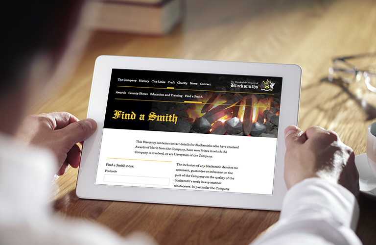 The Worshipful Company of Blacksmiths website - mobile