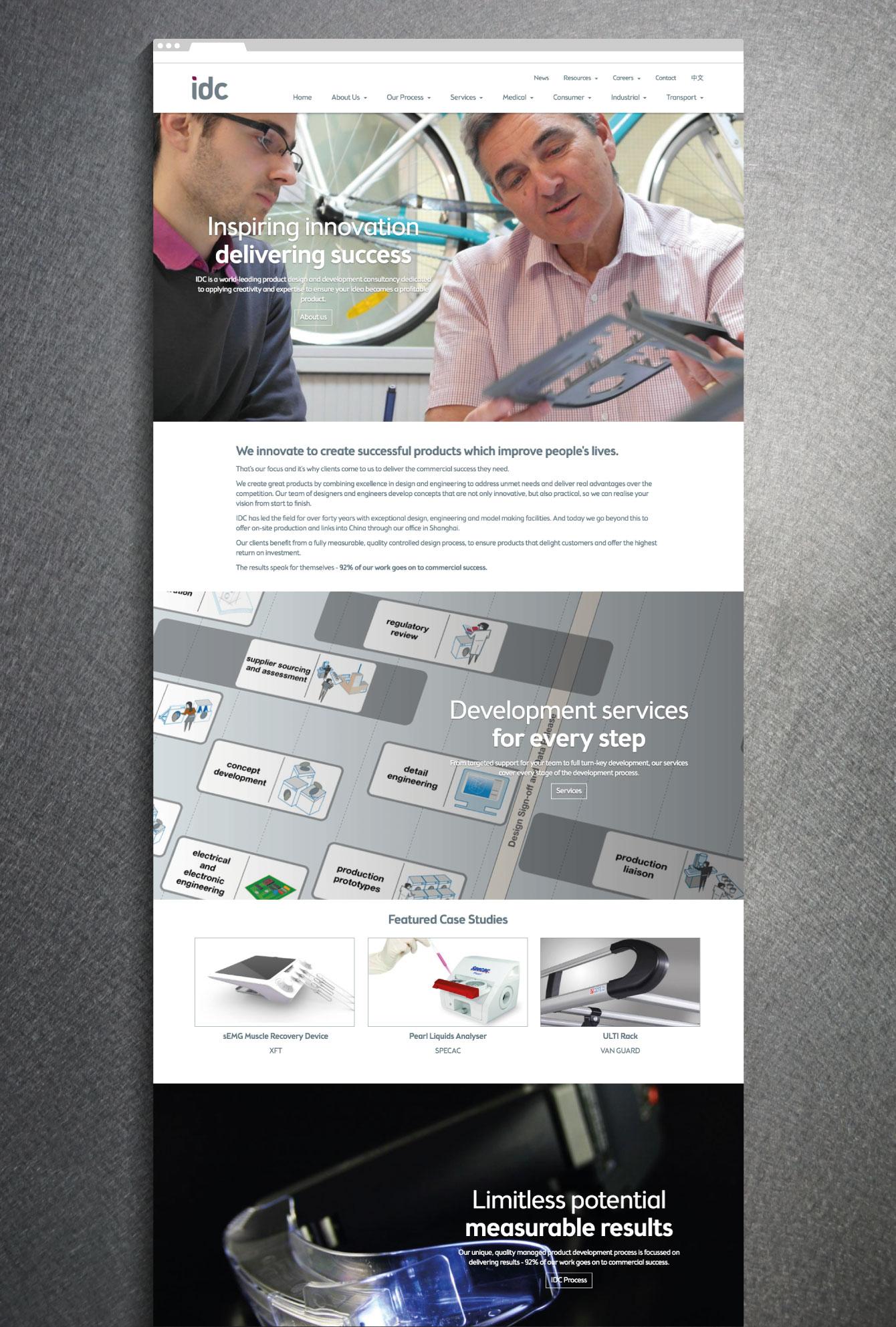 IDC website homepage - desktop