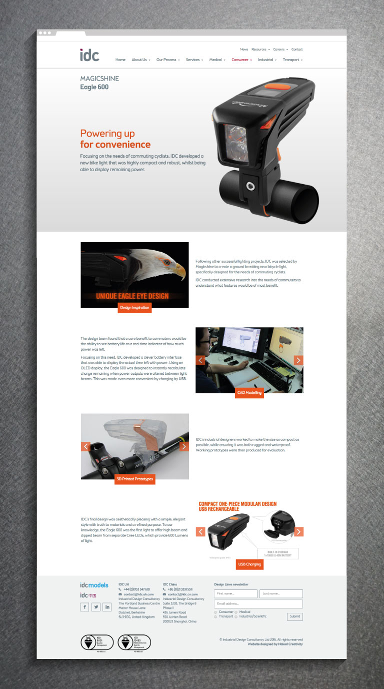 A product page on the IDC website - mobile