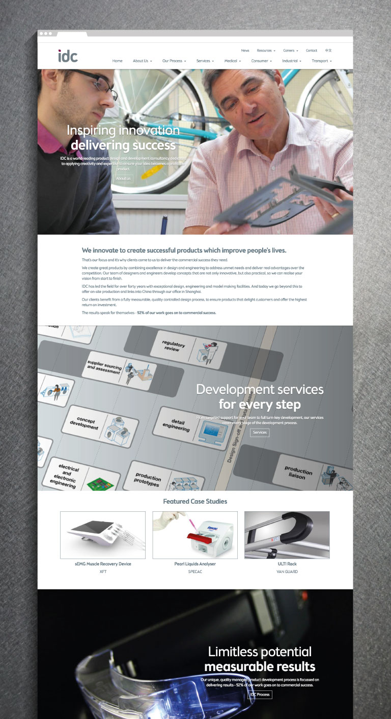 IDC website homepage - mobile