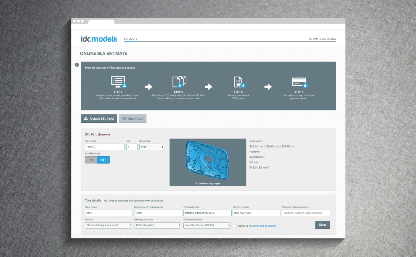 The IDC Models SLA Quote Tool - desktop