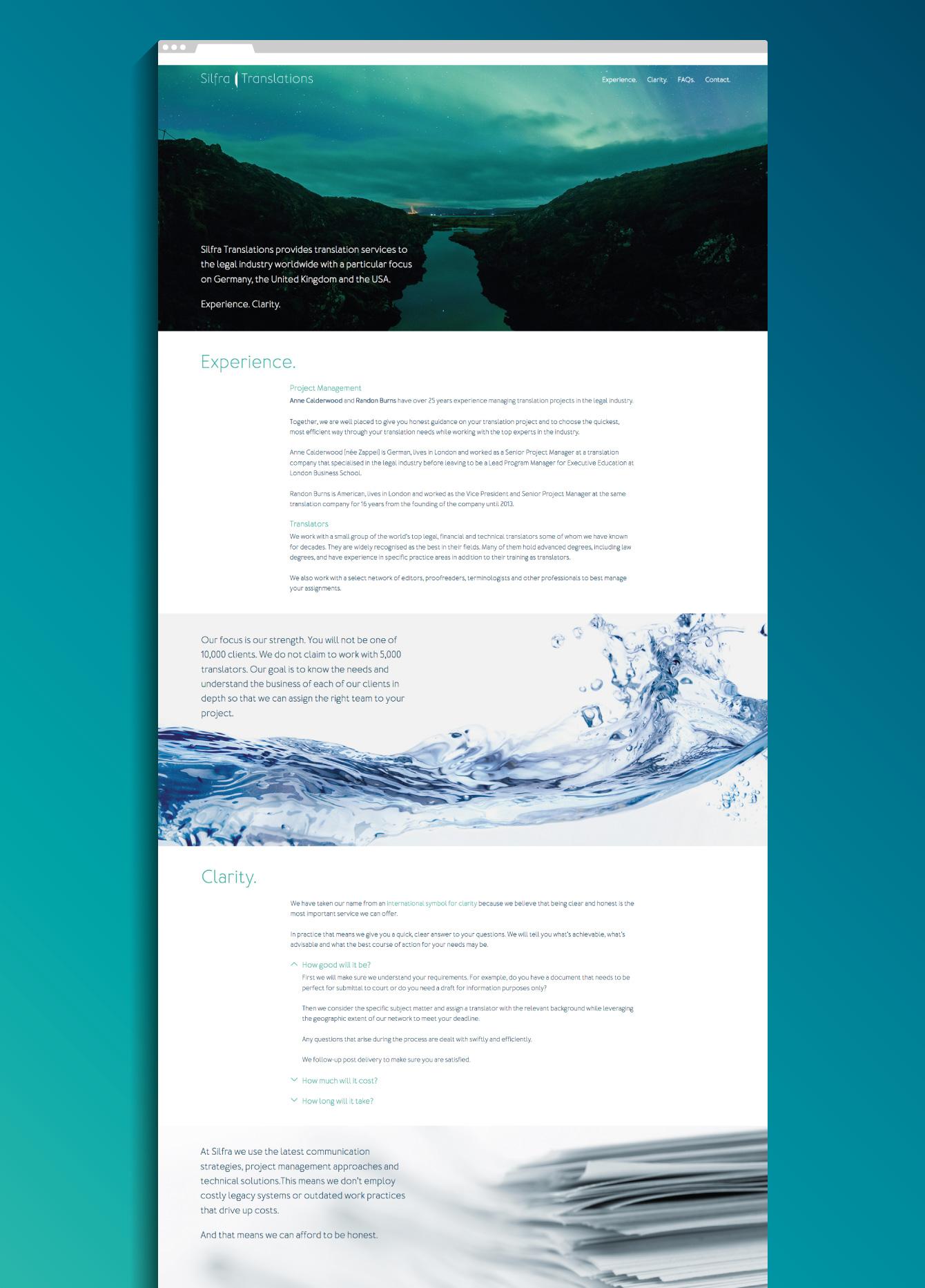 Silfra Translations website - desktop