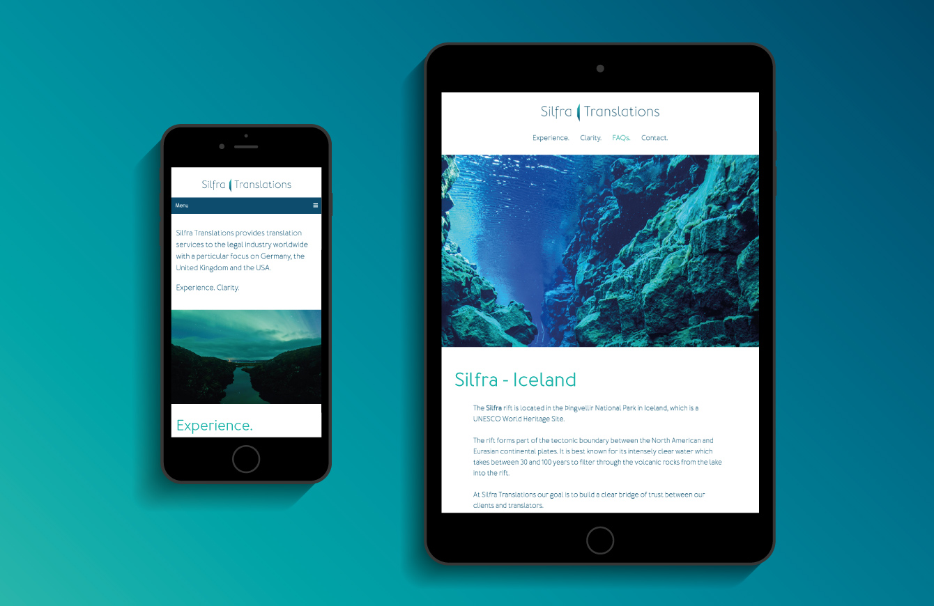 The Silfra Translations website on an iPad and iPhone - desktop