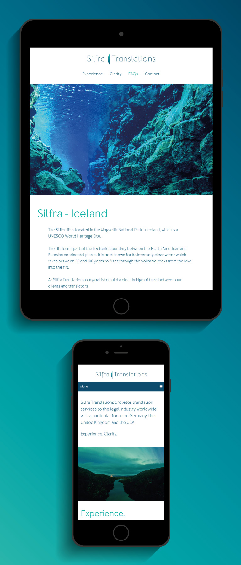 The Silfra Translations website on an iPad and iPhone - mobile