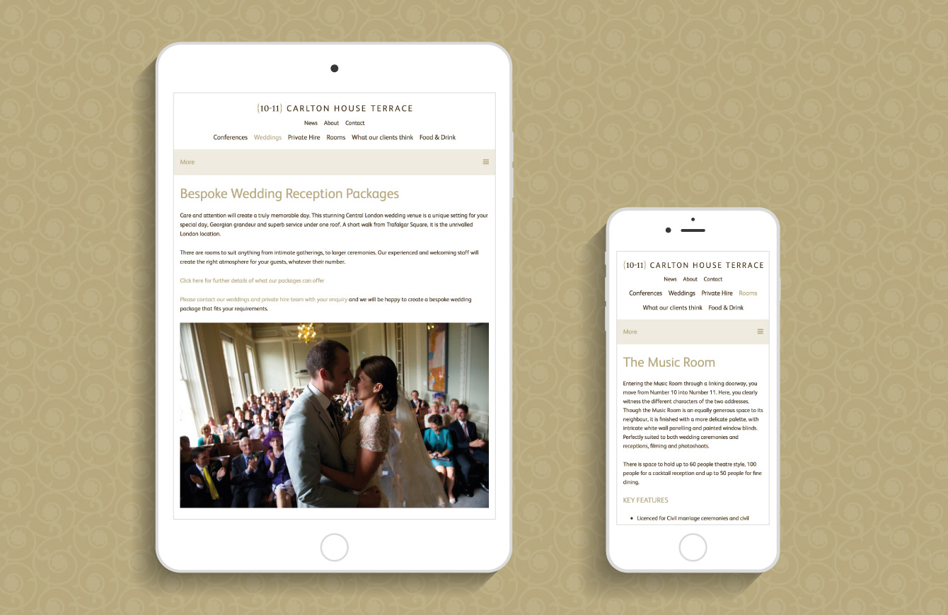 The 10-11 Carlton House Terrace website on an iPad and iPhone - desktop