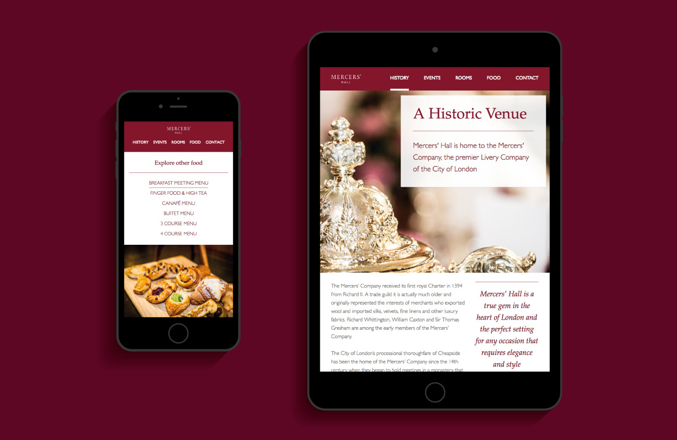 The Mercers' Hal website on an iPad and iPhone - desktop