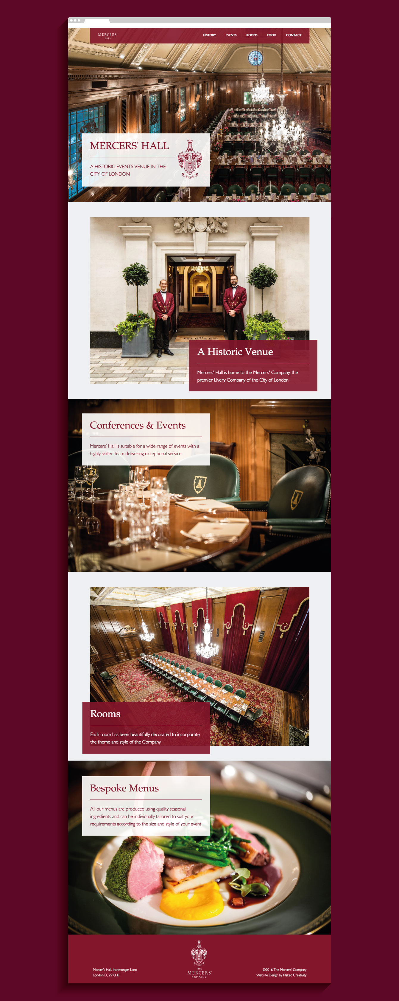 The Mercers' Hall website homepage - desktop