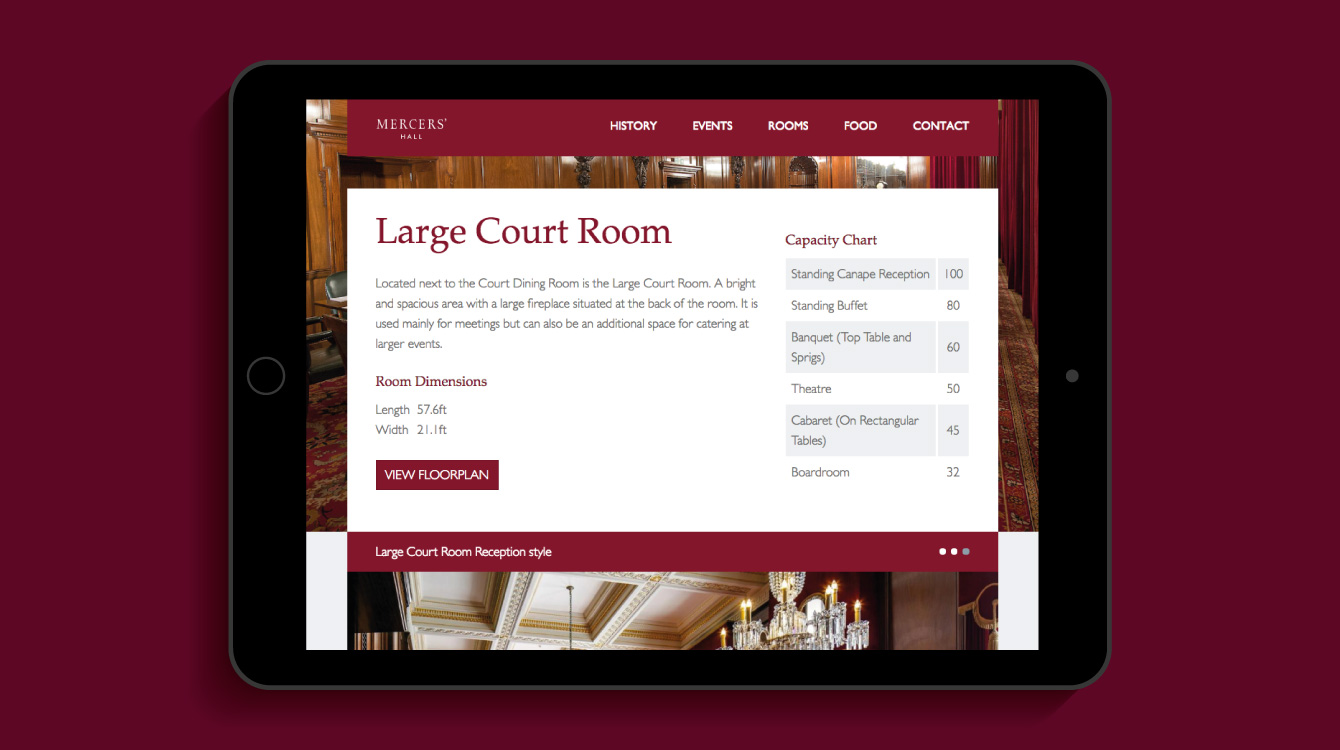 The Mercers' Hall website on an iPad - desktop