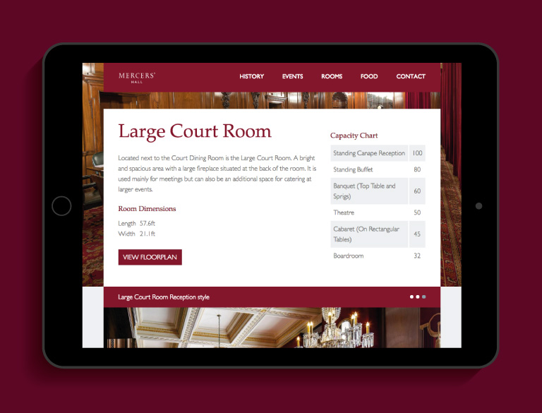 The Mercers' Hall website on an iPad - mobile