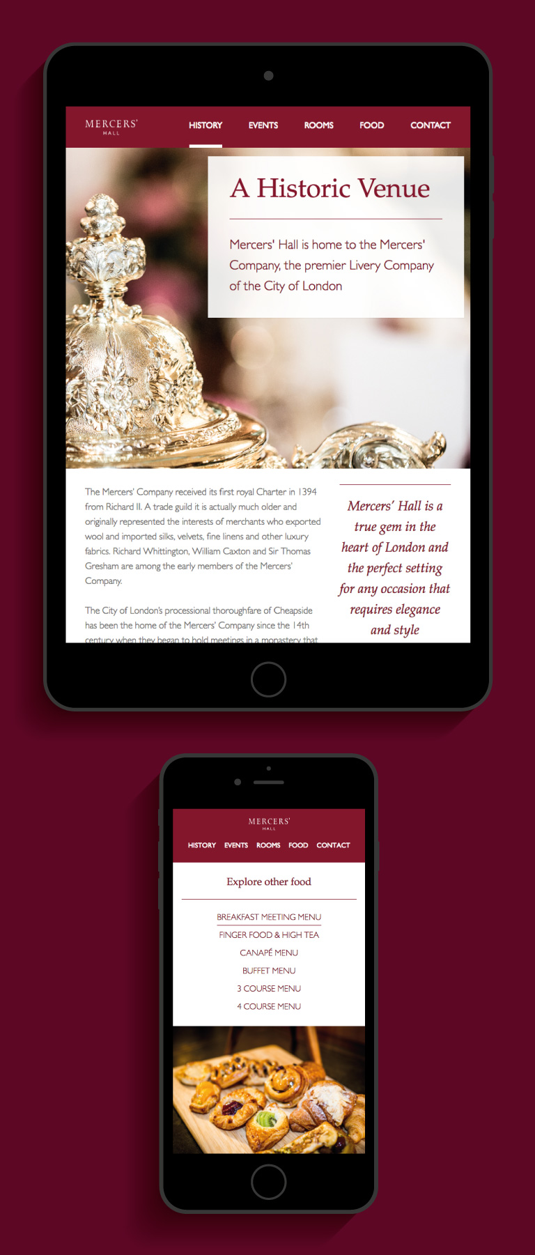 The Mercers' Hal website on an iPad and iPhone - mobile
