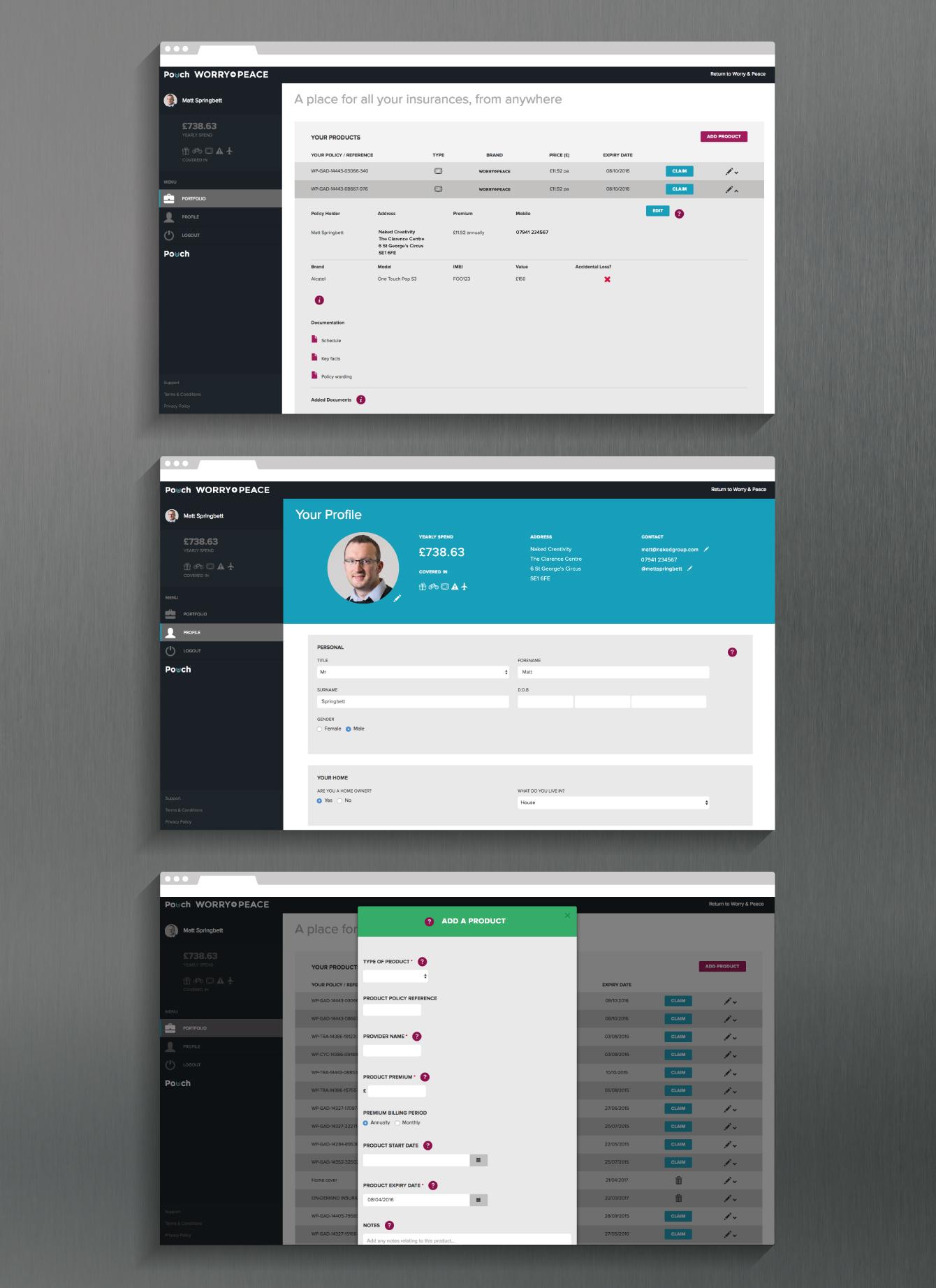 Screenshots of the Pouch - desktop