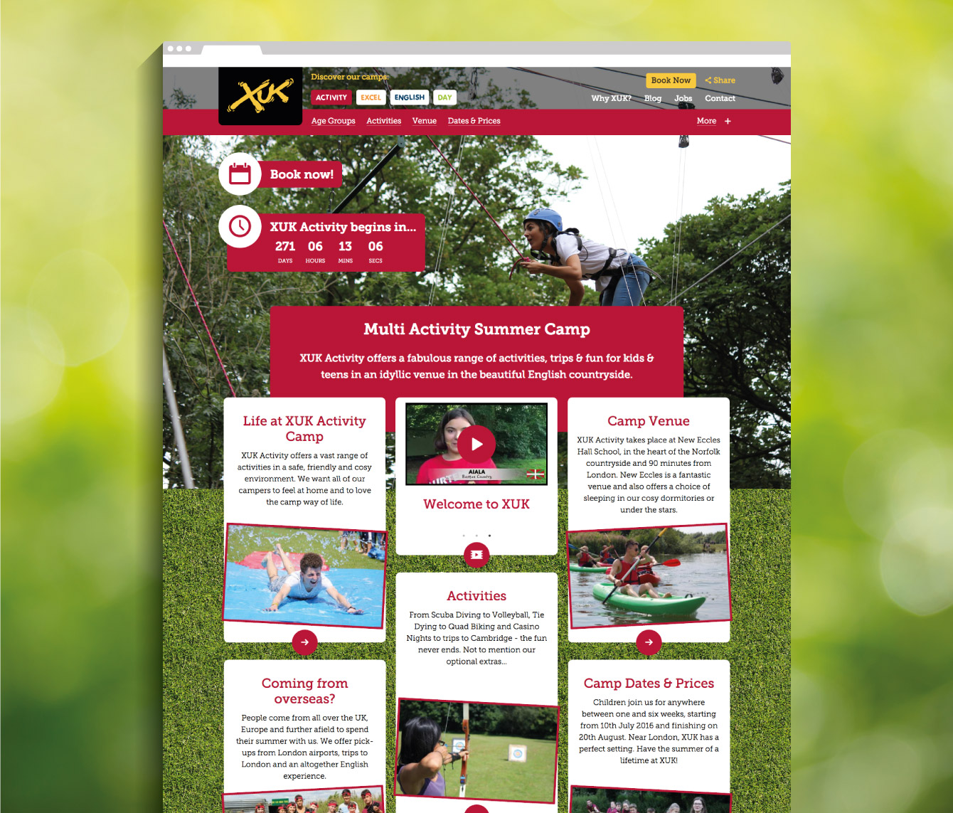 XUK Activity camp landing page - desktop
