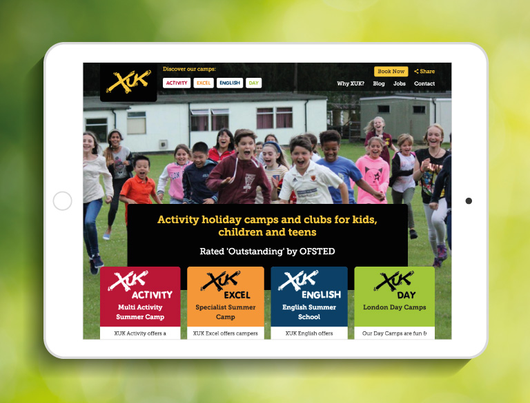The XUK website homepage on an iPad - mobile