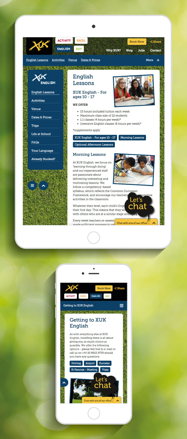 The XUK website on an iPhone and iPad - mobile