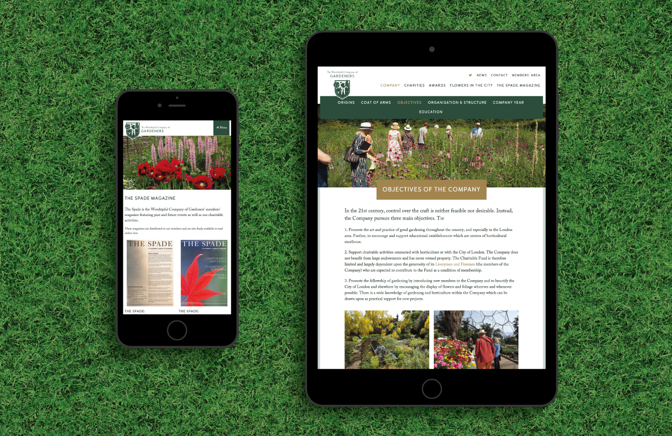 The Worshipful Company of Gardeners website on an iPad and iPhone - desktop