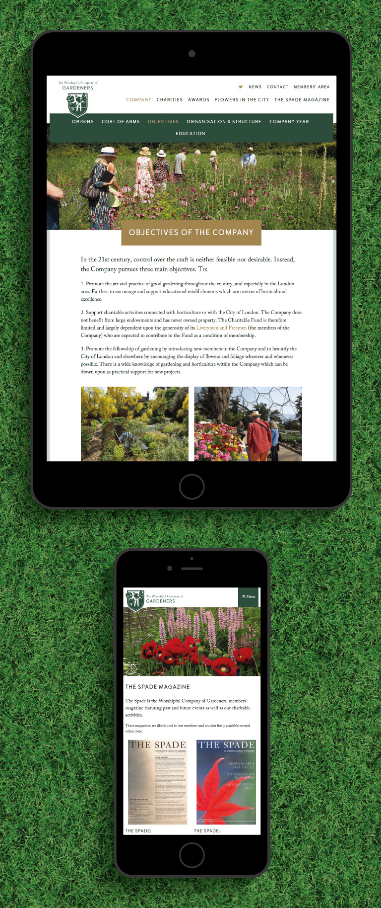The Worshipful Company of Gardeners website on an iPad and iPhone - mobile