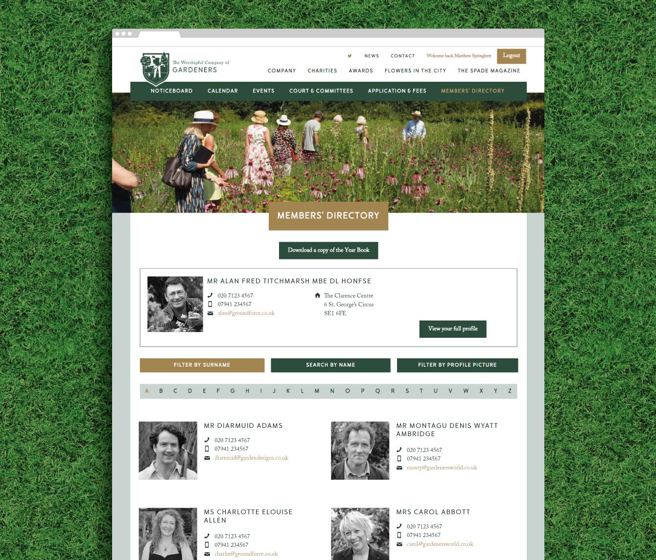 The members directory on the Gardeners website - desktop