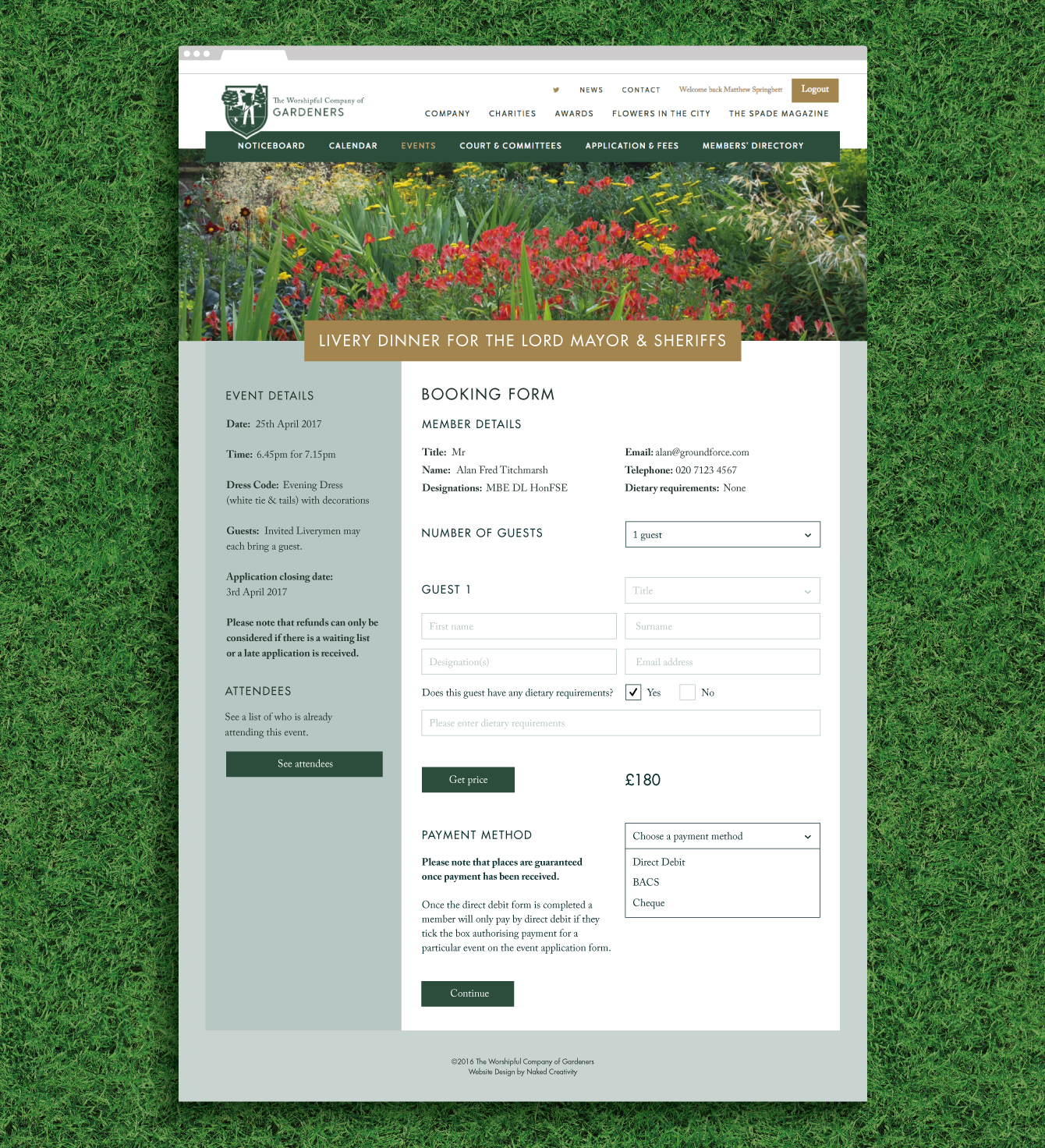 An event booking form in the members' area - desktop