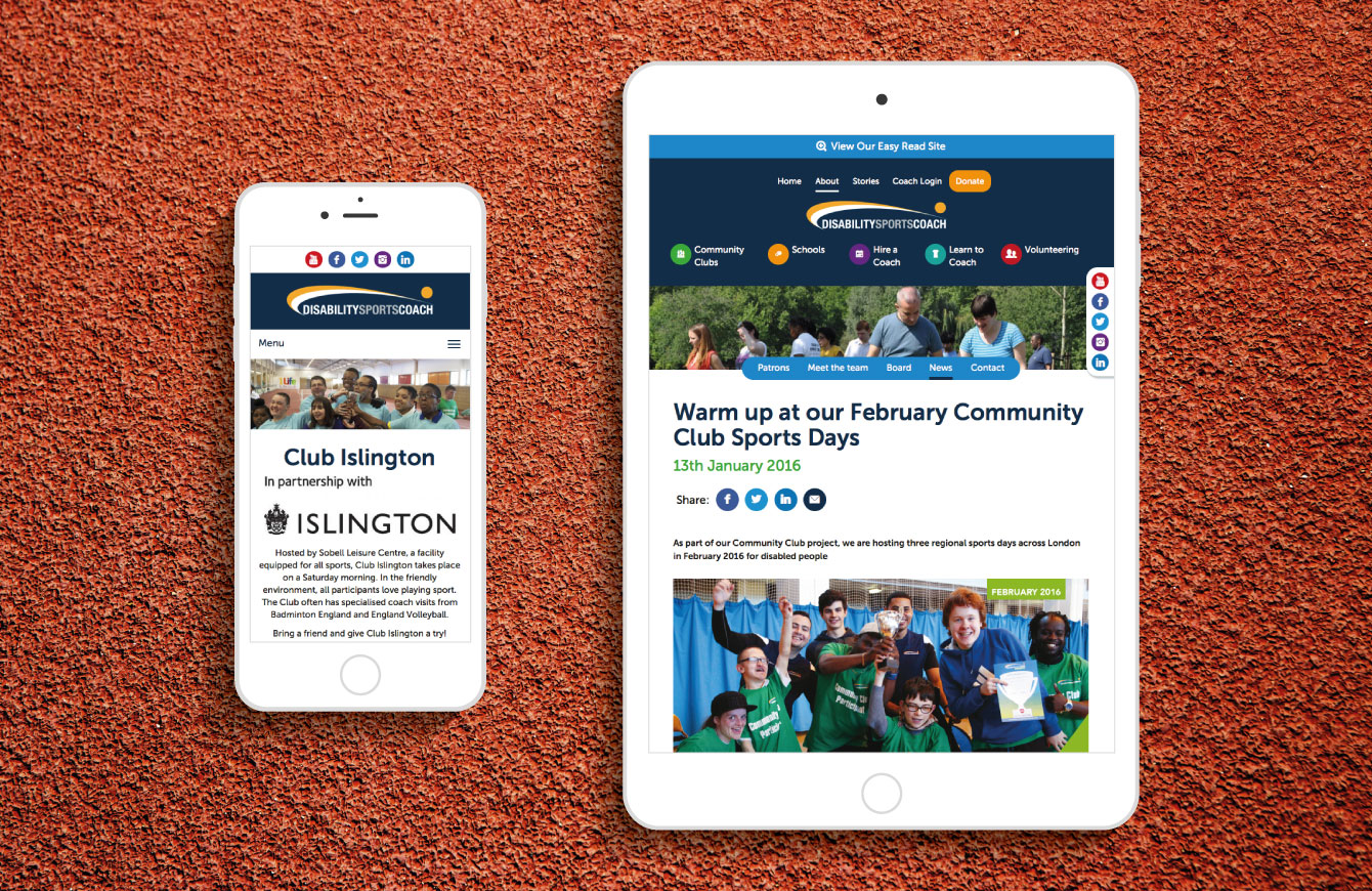 The Disability Sports Coach website on an iPhone and iPad - desktop