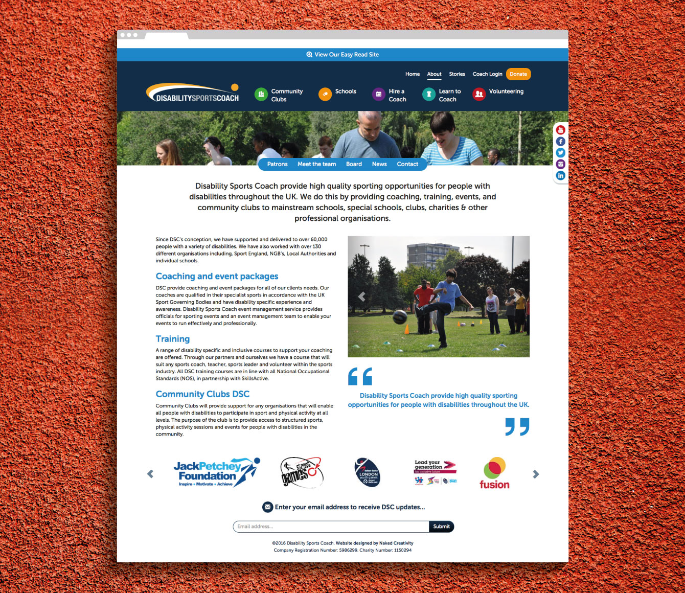 The About Us page on the Disability Sports Coach website - desktop